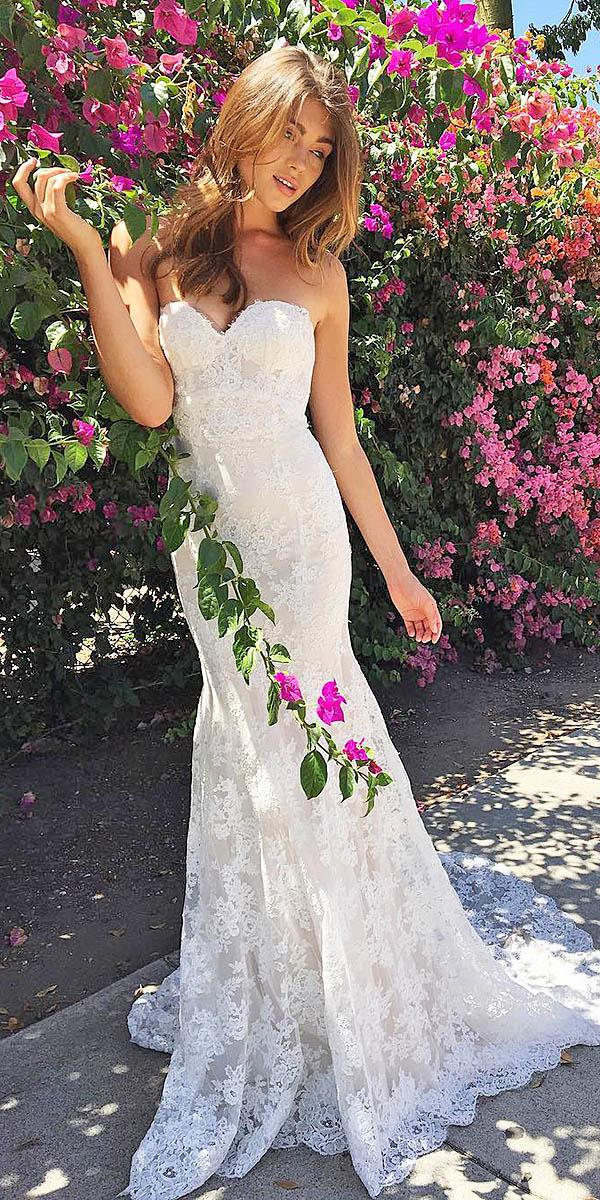 sweetheart mermaid wedding dresses lace appliques sleeveless monique lhuillier