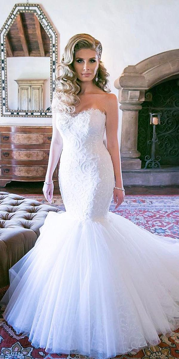 sweetheart mermaid wedding dresses lace embellishment with train lovella bridal
