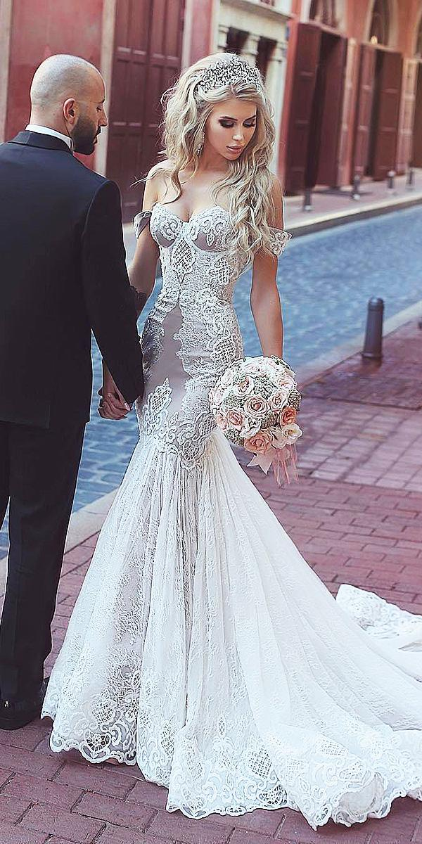 sweetheart mermaid wedding dresses off the shoulder blush with train salon kuraje