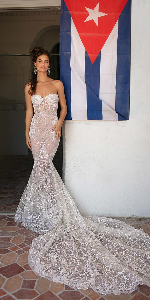 sweetheart mermaid wedding dresses sexy strapless lace sequins with bling berta