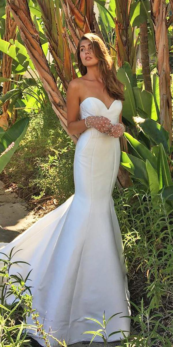 sweetheart mermaid wedding dresses simple with train monique lhuillier