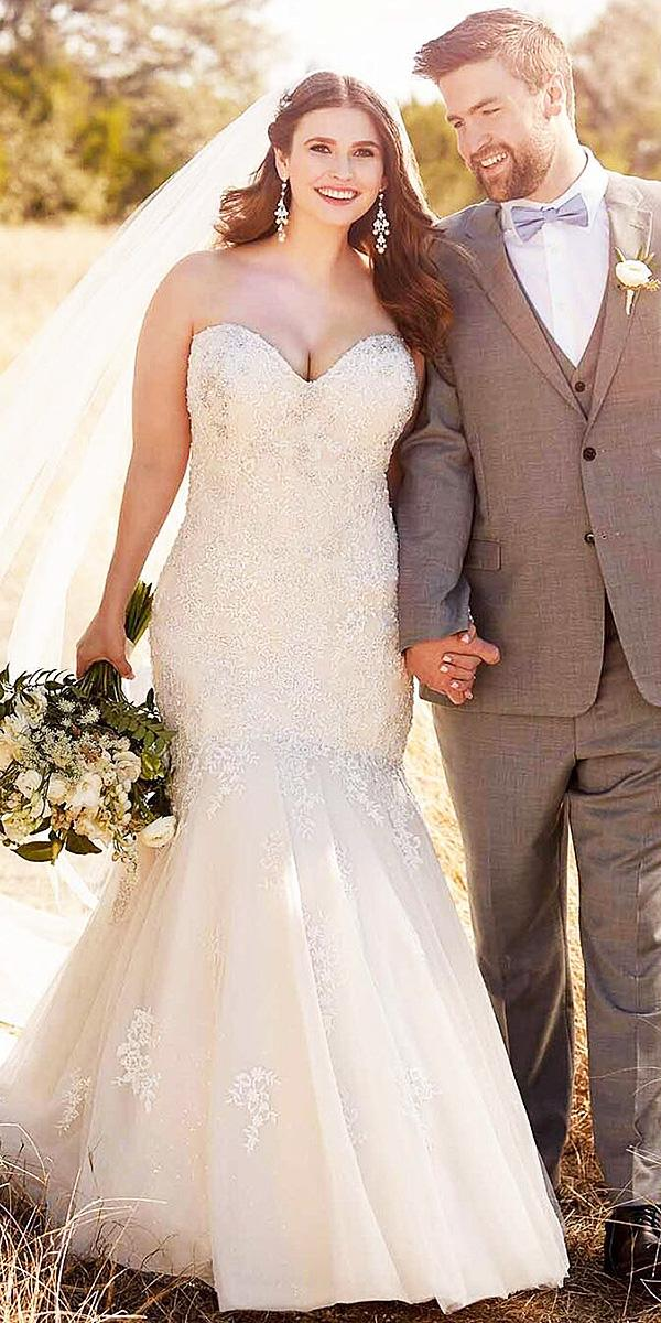 sweetheart mermaid wedding dresses sleeveless bling plus size essense of australia