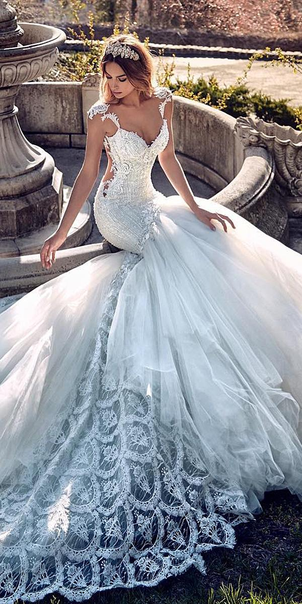 sweetheart mermaid wedding dresses spaghetti straps with cap sleeves embroidered galialahav