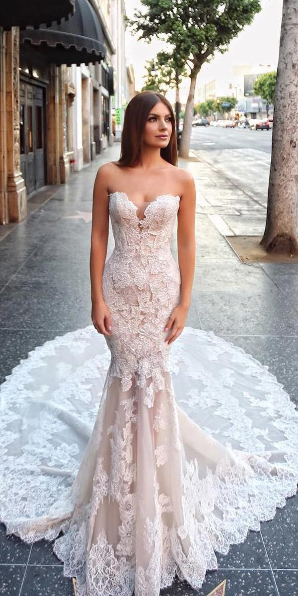 sweetheart mermaid wedding dresses strapless lace floral with train blush enzoani