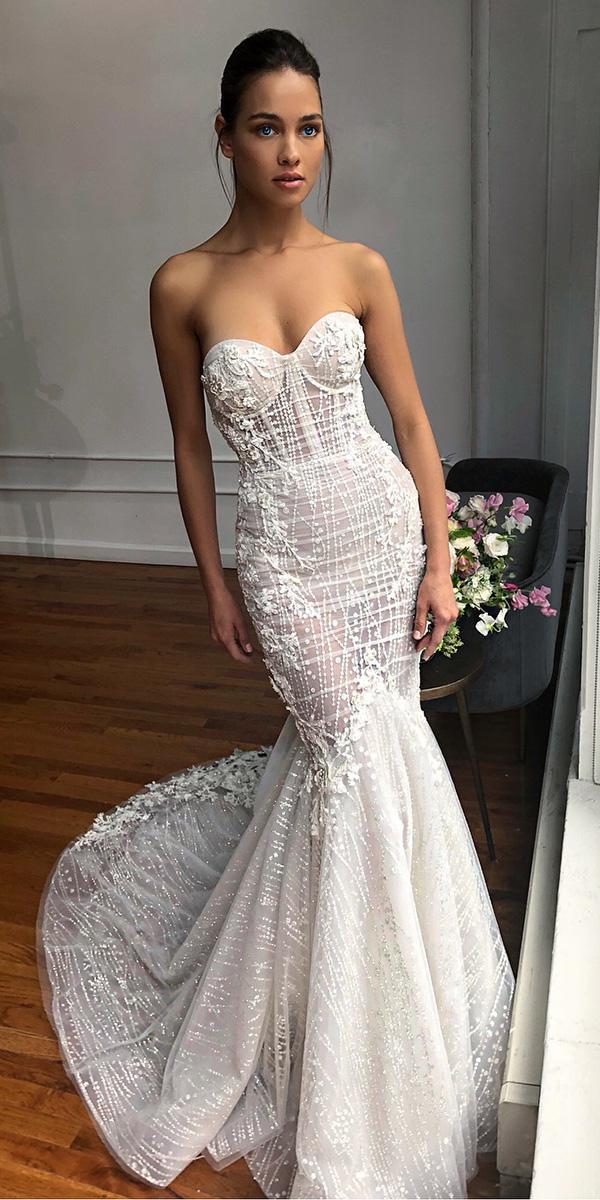 sweetheart mermaid wedding dresses strapless sexy beach with bling berta