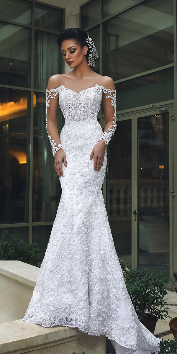 sweetheart mermaid wedding dresses with illusion long sleeves lace ahmad younes photography