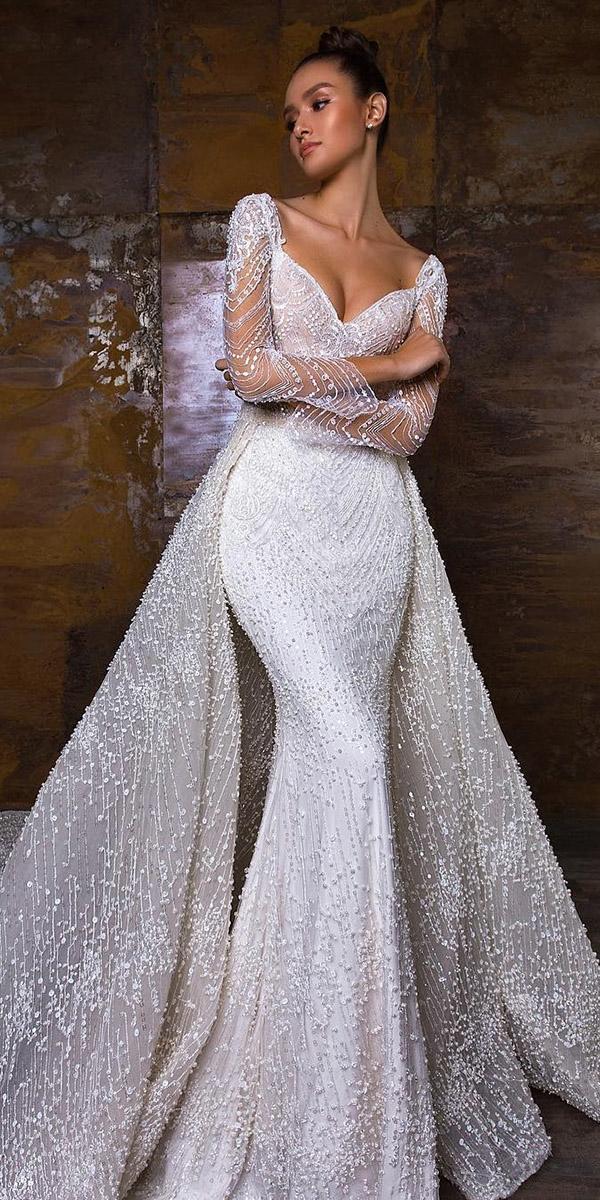 sweetheart mermaid wedding dresses with illusion long sleeves overskirt crystal design