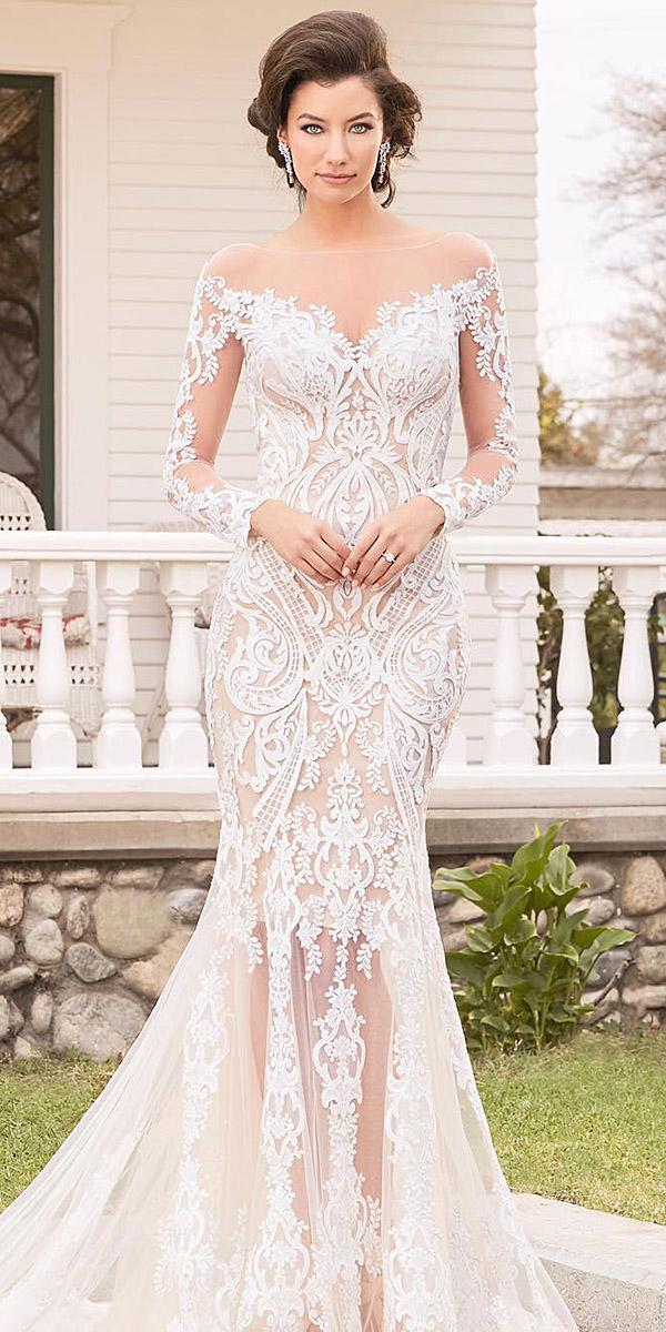 sweetheart mermaid wedding dresses with illusion sleeves full lace kitty chen couture