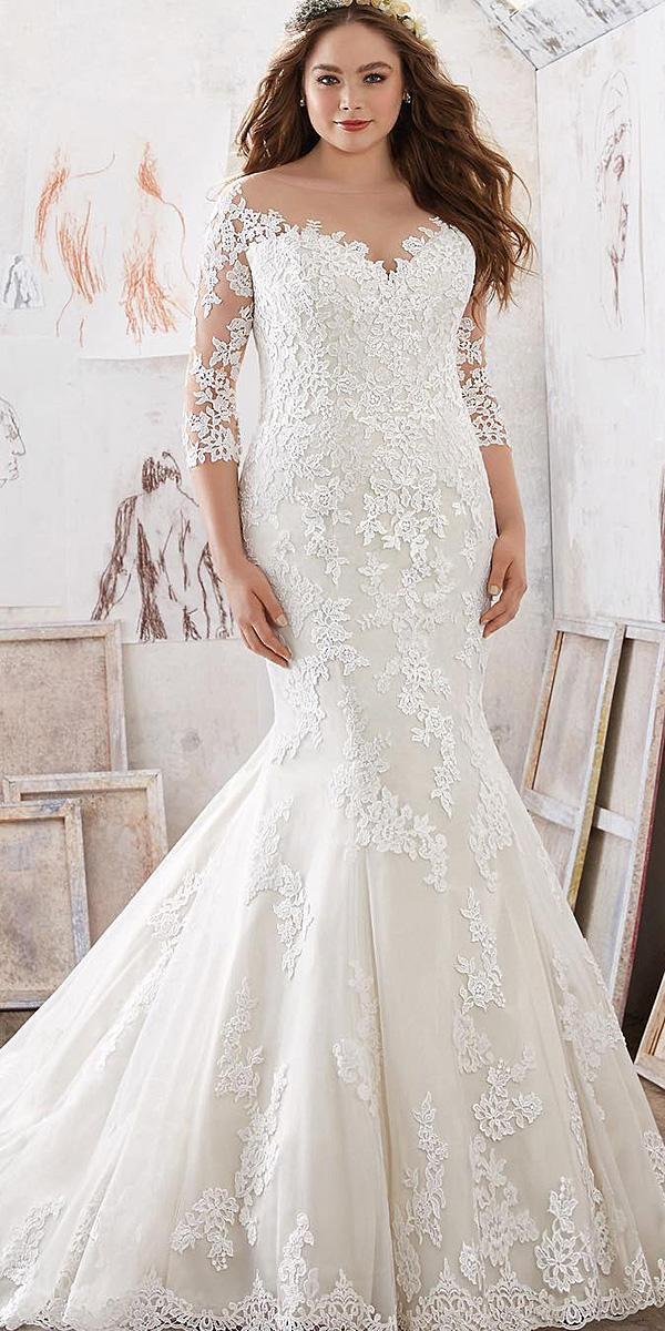 sweetheart mermaid wedding dresses with illusion slleves plus size mori lee