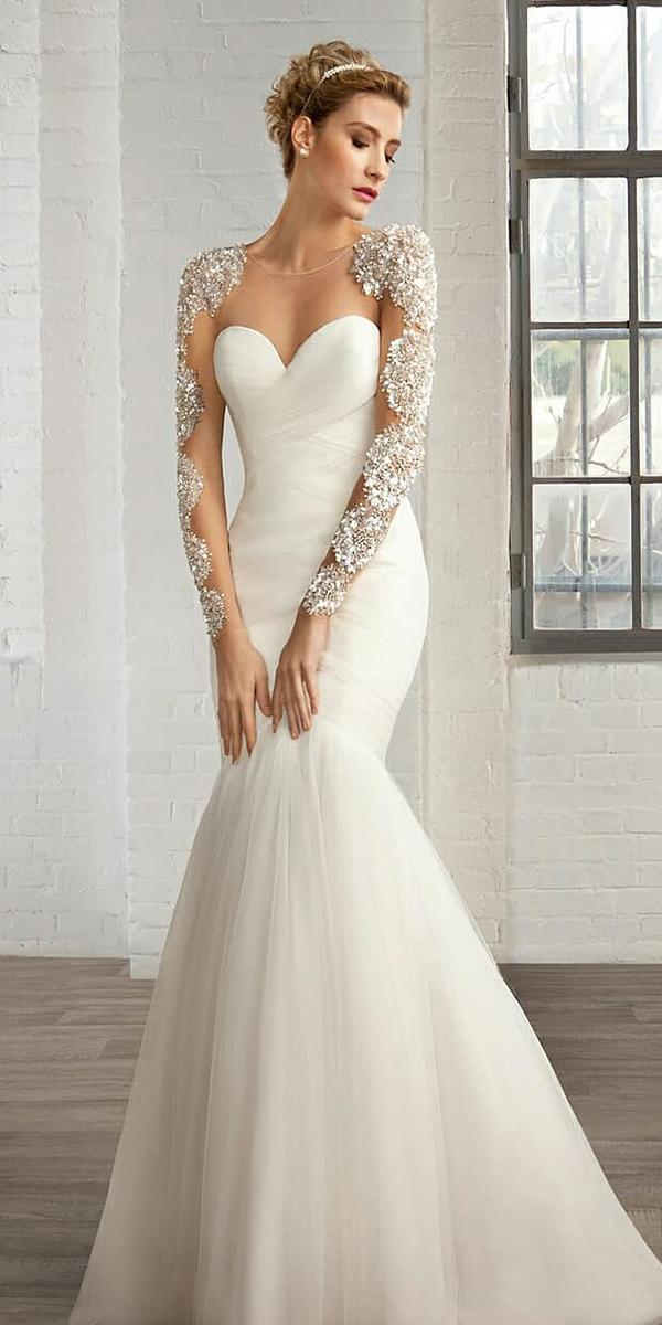sweetheart mermaid wedding dresses with long beaded sleeves illusion neckline demetrios bride