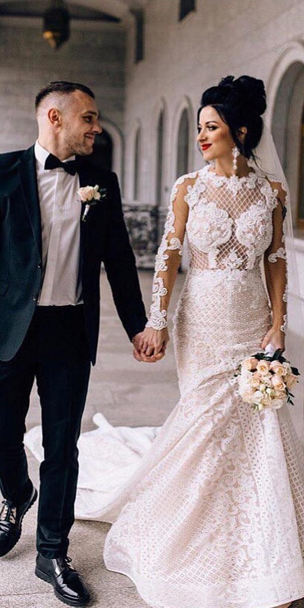 sweetheart mermaid wedding dresses with long sleeves full lace lorenzo rossi