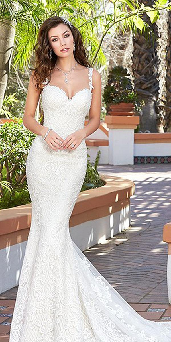 sweetheart mermaid wedding dresses with spaghetti straps with train full lace kitty chen couture