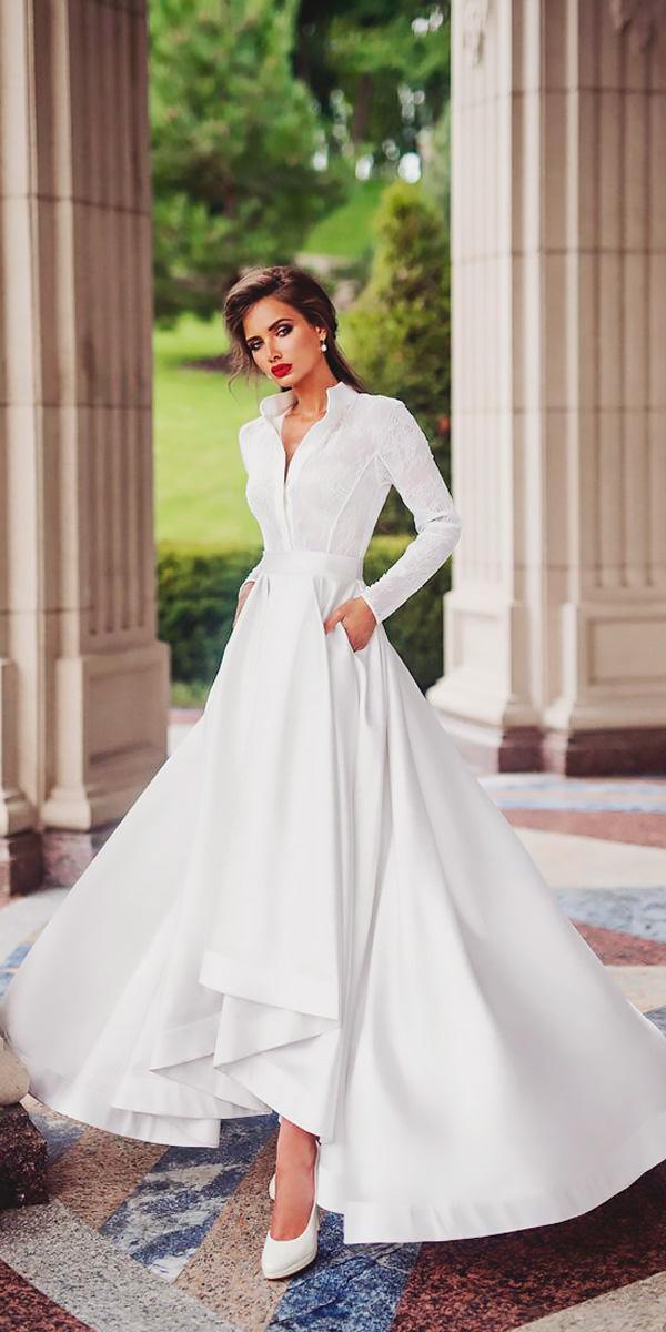 tea length wedding dresses a line v neckline long sleeves lace ariamo