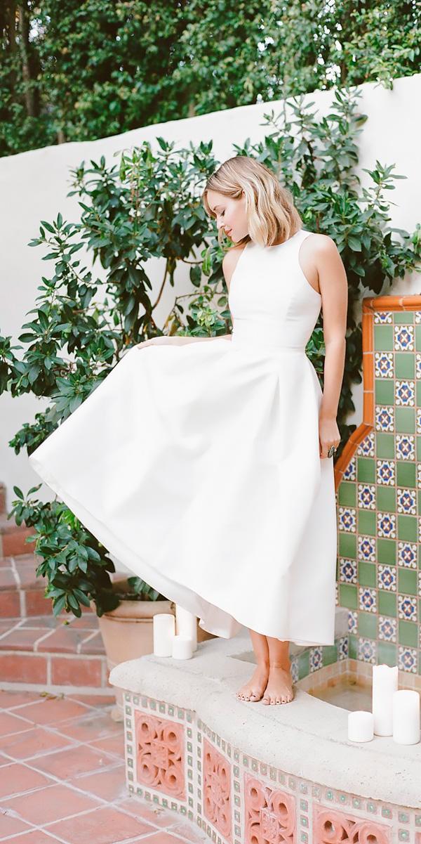 tea length wedding dresses bateau neckline simple sleeveless rebecca yale