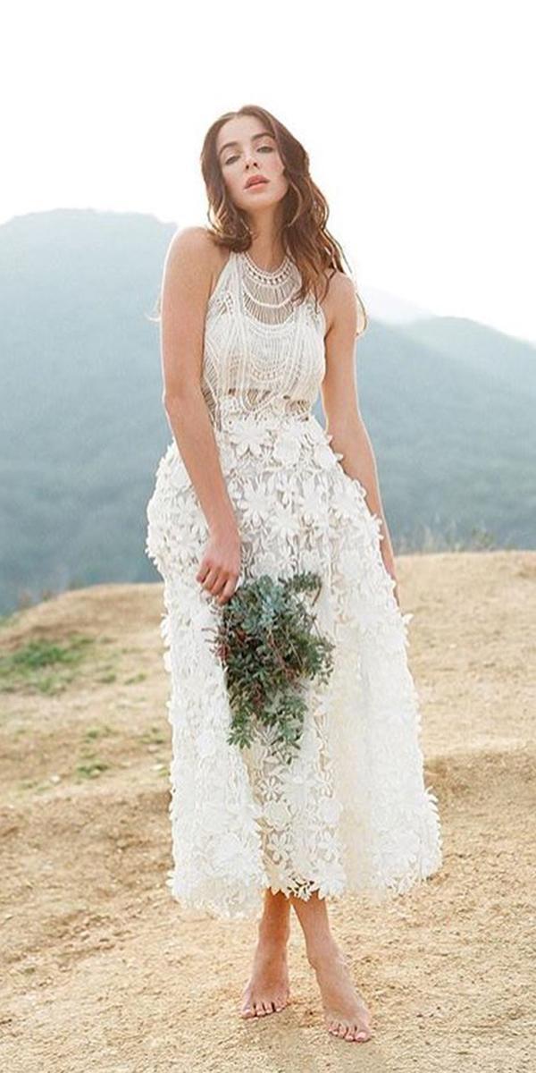 tea length wedding dresses floral appliques sleveless boho yolan cris