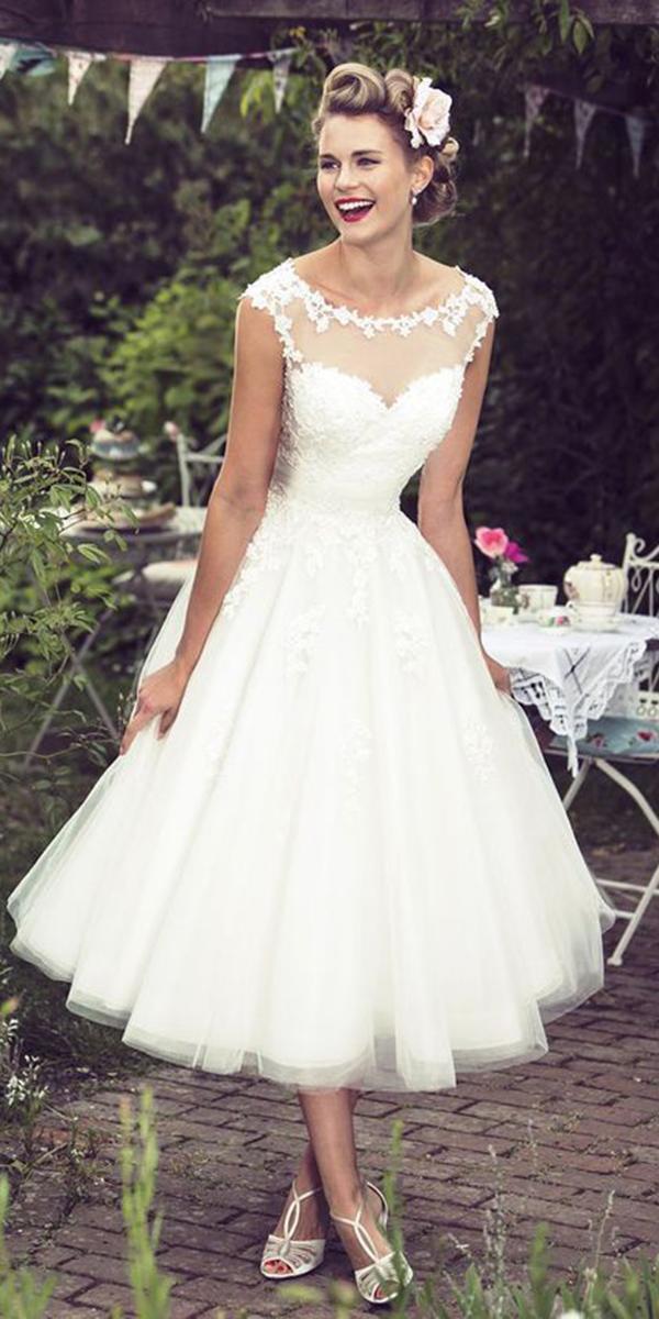 tea length wedding dresses illusion neckline with cap sleeves sweetheart beach lucky bridals