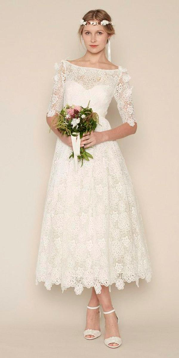 tea length wedding dresses lace illusion sweetheart neck with sleeves rue de seine