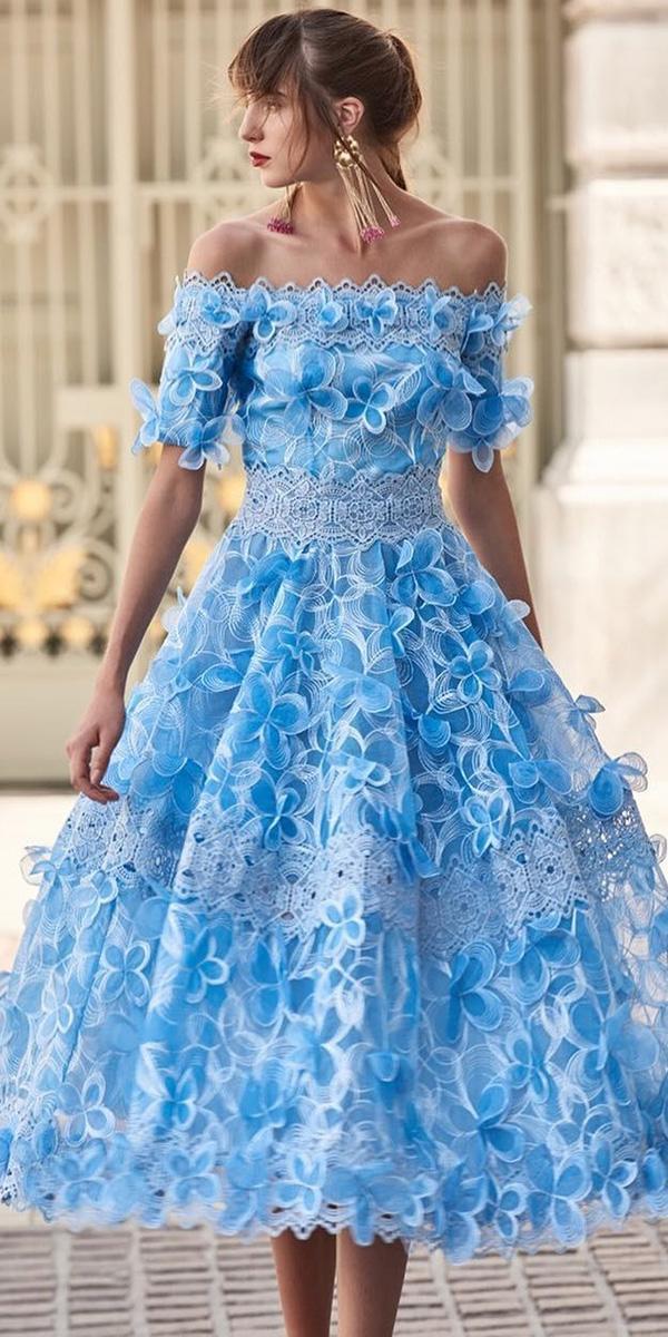 tea length wedding dresses modern off the shoulder with 3d floral blue christos costarellos
