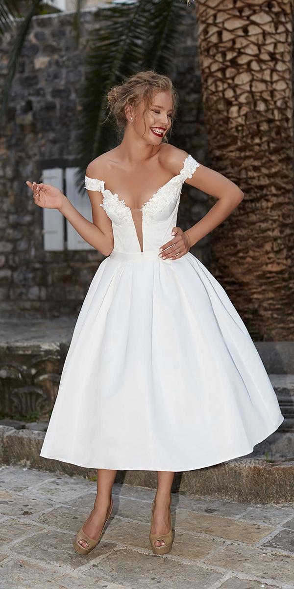 tea length wedding dresses off the shoulder deep v neckline armonia