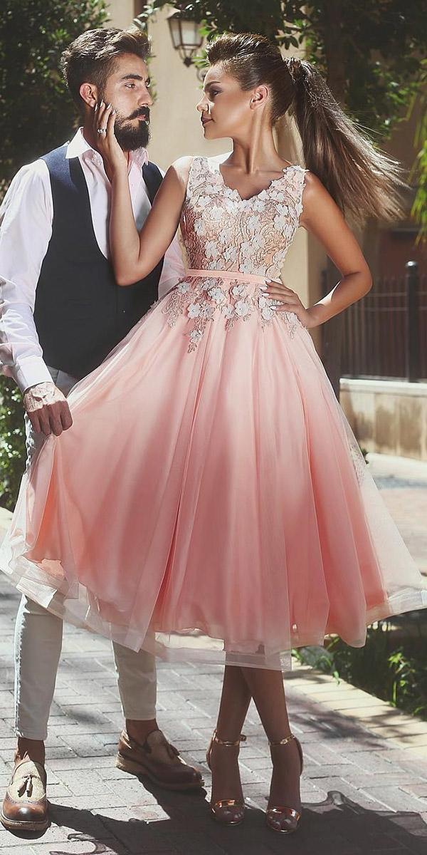 tea length wedding dresses ombre floral appliques modern said mhad