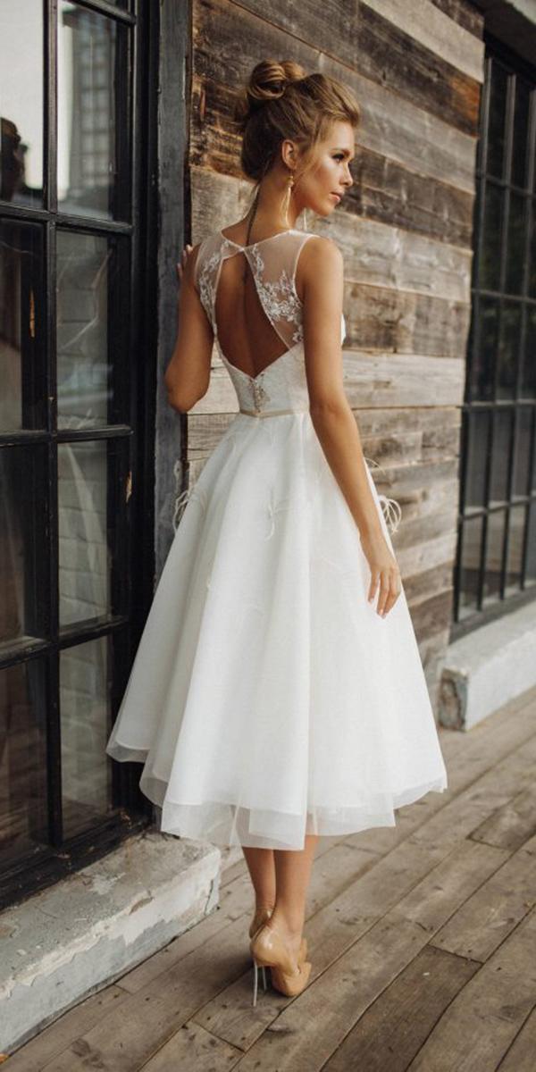 tea length wedding dresses open back romantic alex veil