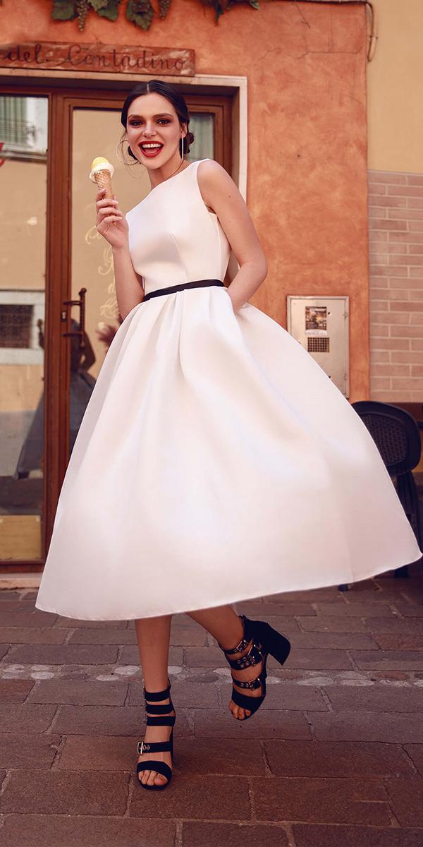 tea length wedding dresses simple with black belt armonia