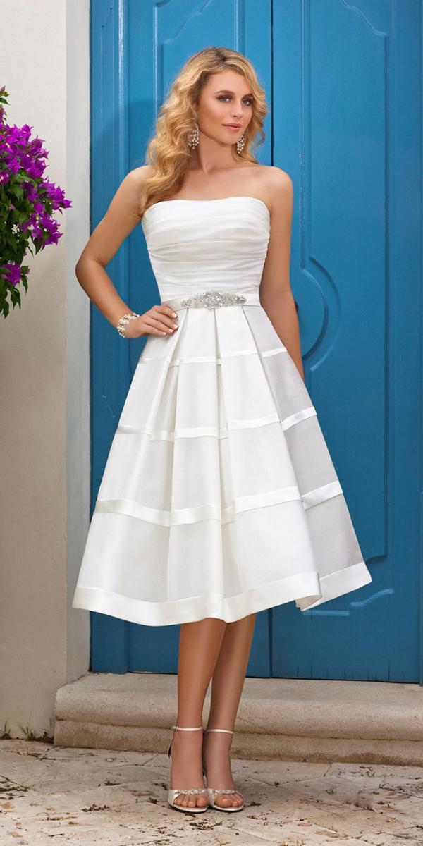 tea length wedding dresses strapless simple beaded belt boho stella york