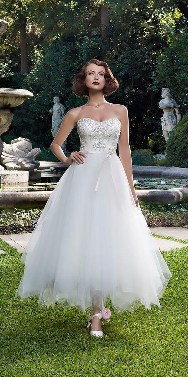 tea length wedding dresses strapless sweetheart beaded bodice casablanca bridal
