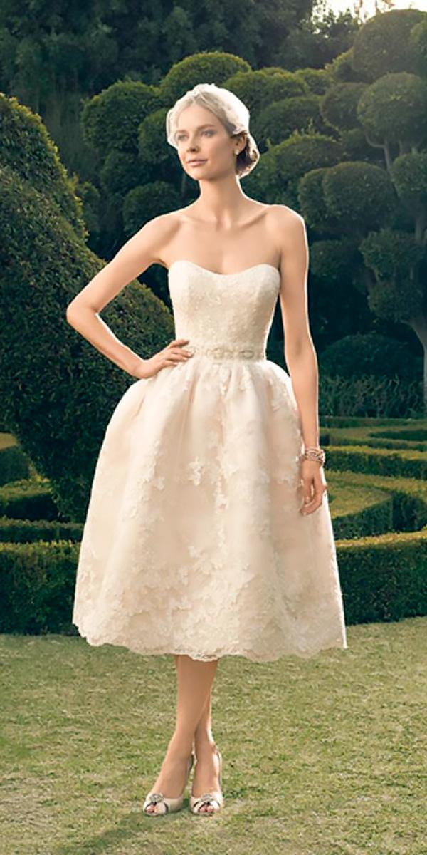 tea length wedding dresses strapless sweetheart lace ivory casablanca bridal