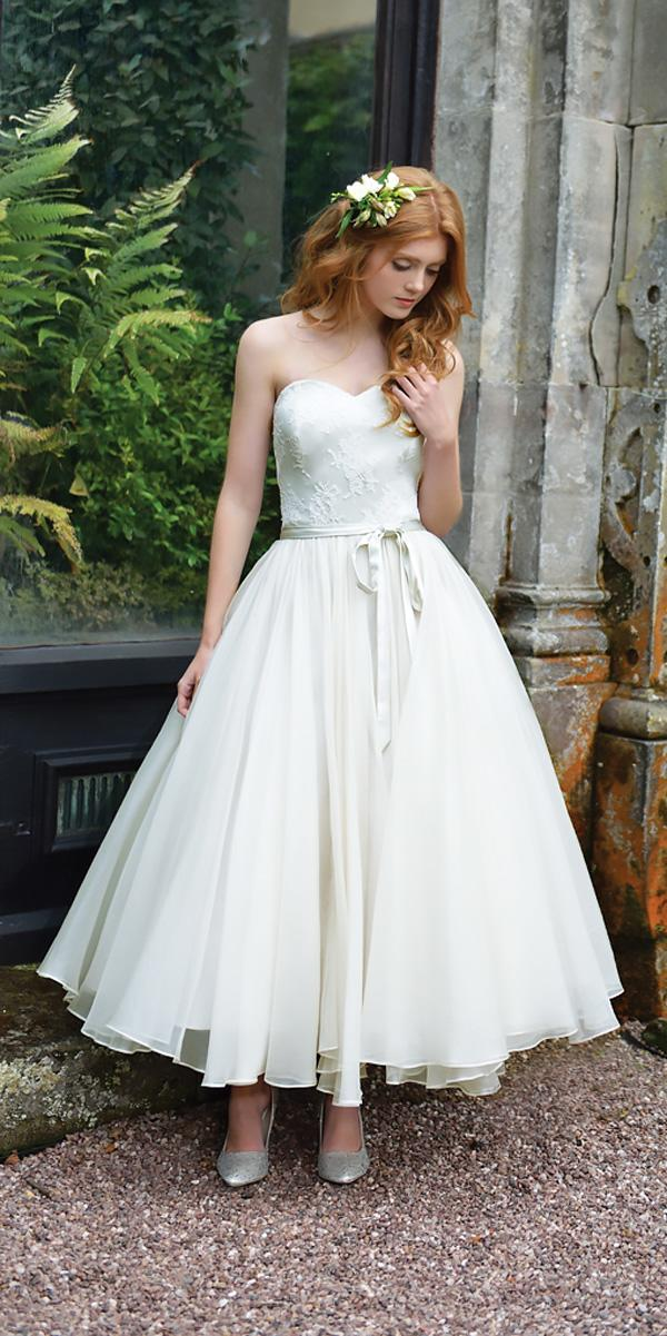 tea length wedding dresses strapless sweetheart neckline lace modern with ribbon ivory and co bridal