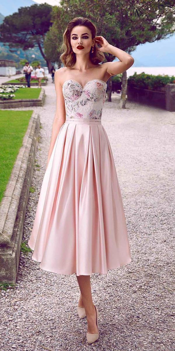 tea length wedding dresses sweetheart satin skirt colored beach innocentia