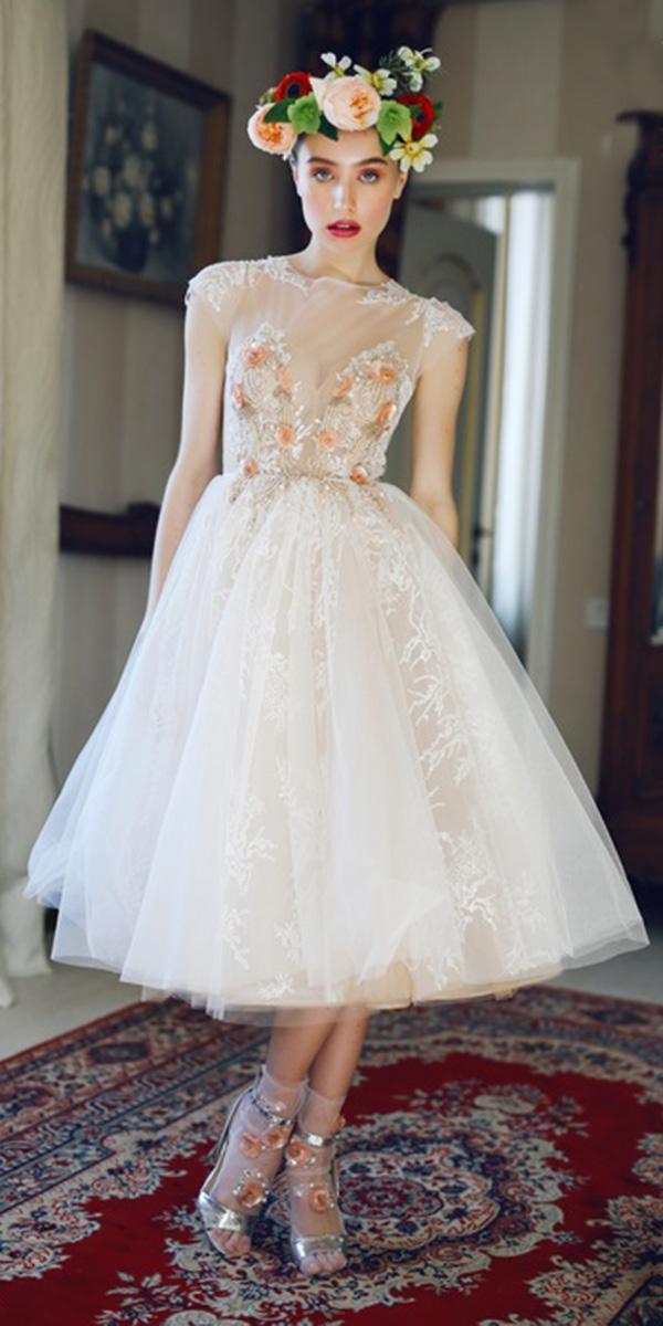 tea length wedding dresses with cap sleeves nude neckline ange etoiles