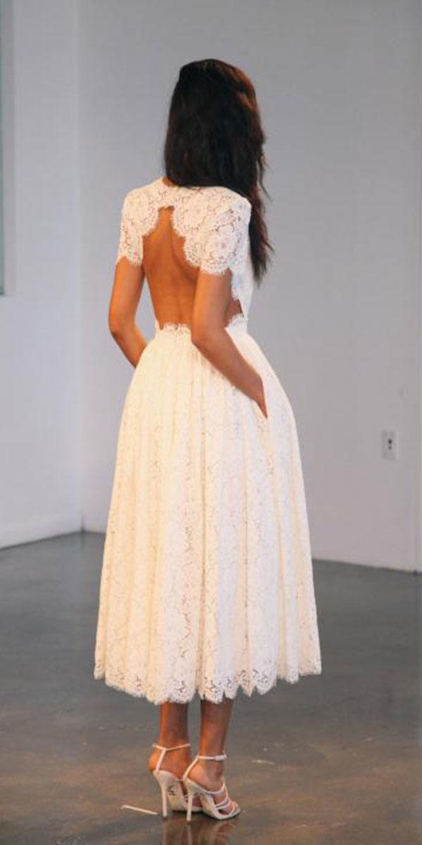 tea length wedding dresses with cap sleeves open back lace houghton nyc