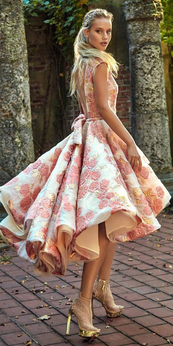 tea length wedding dresses with floral appliques colored modern vintage galia lahav