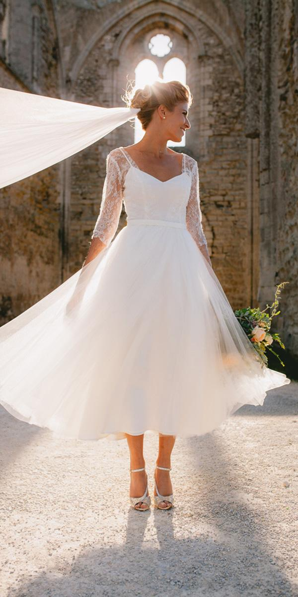 tea length wedding dresses with illusion sleeves sweetheart julien pelletier photography