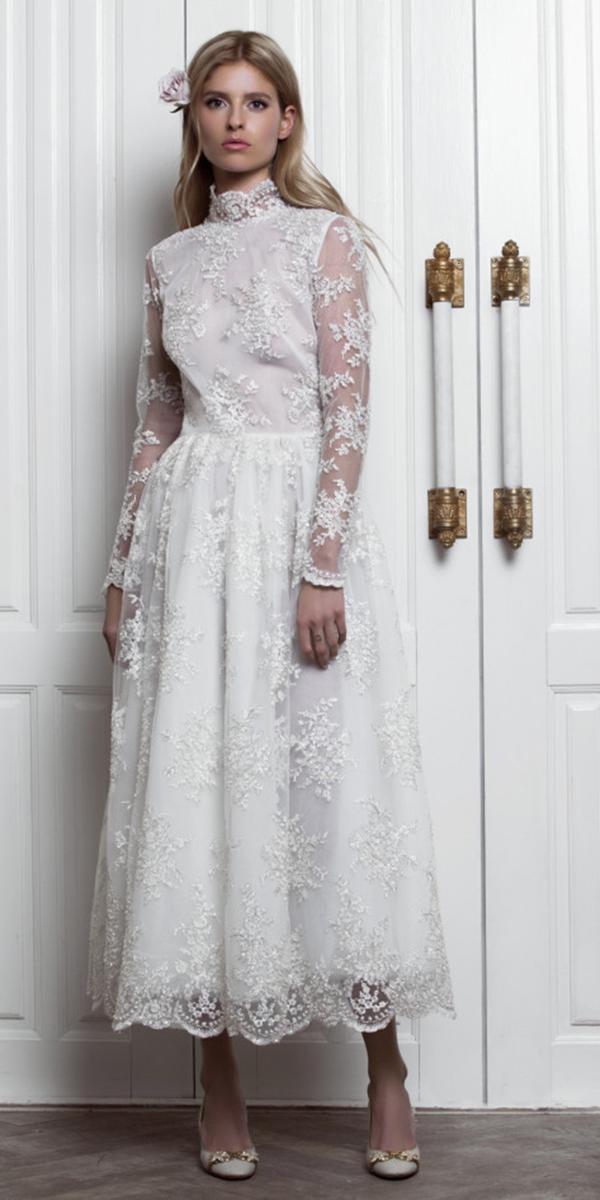 tea length wedding dresses with long sleeves hig neck lace yulia prokhorova