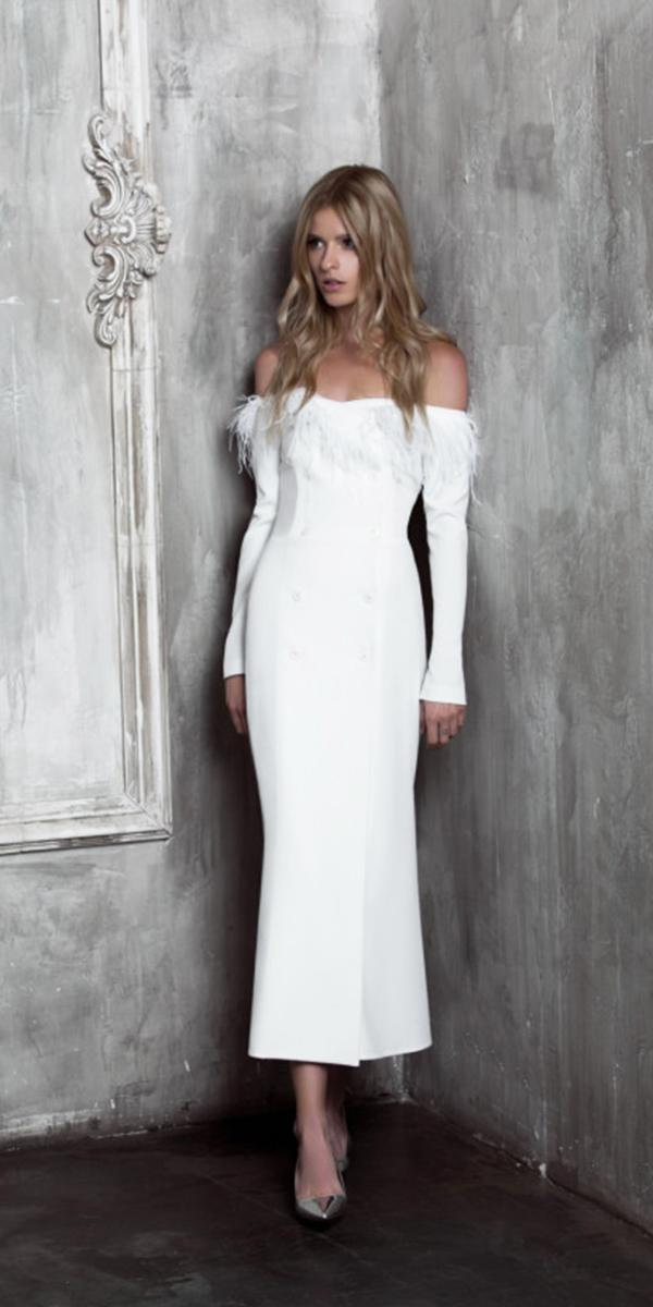 tea length wedding dresses with long sleeves off the shoulder feather simple yulia prokhorova