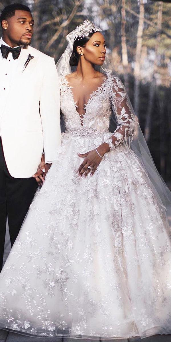 top wedding dresses a line deep v neckline with sleeves full lace embellishment ysa makino