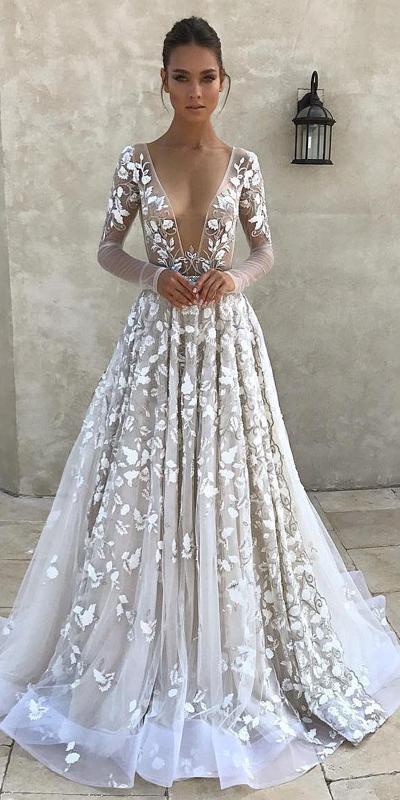 24 top wedding dresses for bride wedding dresses guide top wedding dresses a line with long illusion sleeves deep v neckline floral appliques berta junglespirit Choice Image