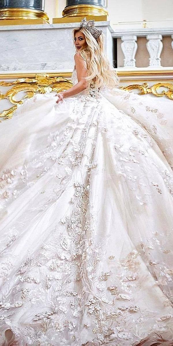 top wedding dresses ball gown floral lace embellishment malyarova olga