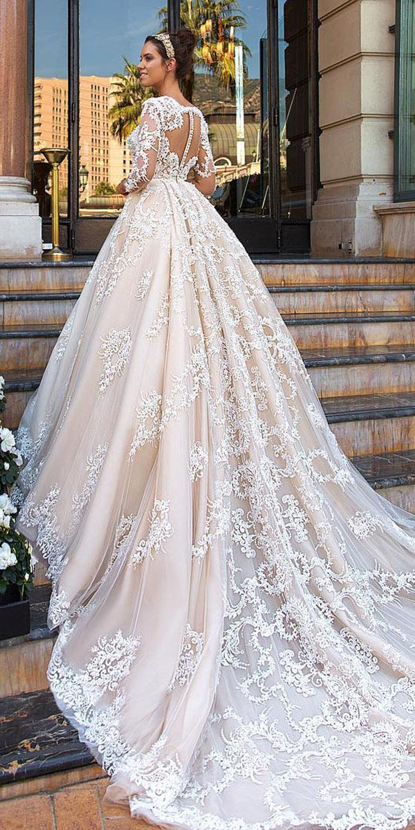 top wedding dresses ball gown full lace tatto effect with sleeves crystal design