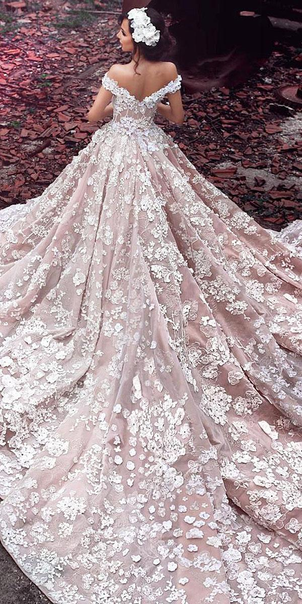 top wedding dresses ball gown off the shoulder floral appliques lace sadek majed couture