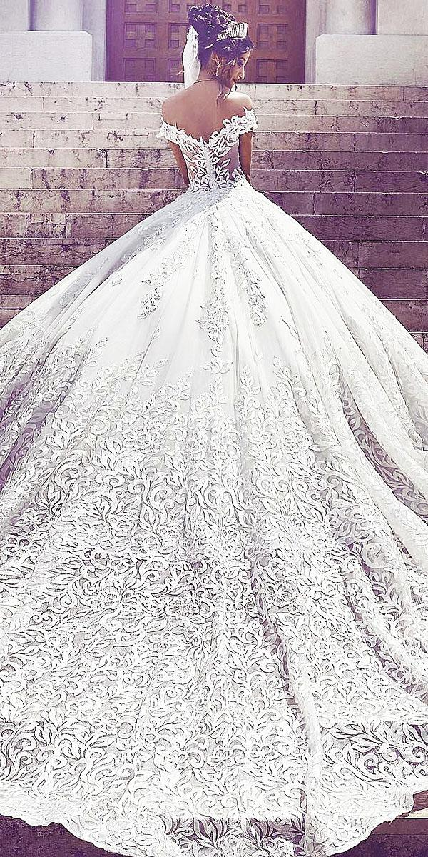 top wedding dresses ball gown offf the shoulder lace embroidered luxury toumajean couture