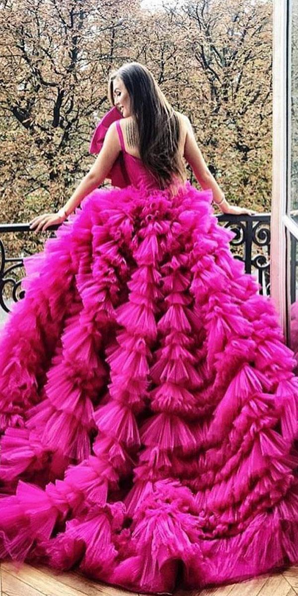 top wedding dresses ball gown ruffled skirt purple zuhair murad