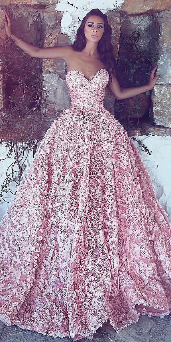 top wedding dresses ball gown sweetheart floral appliques pink zeim hamad