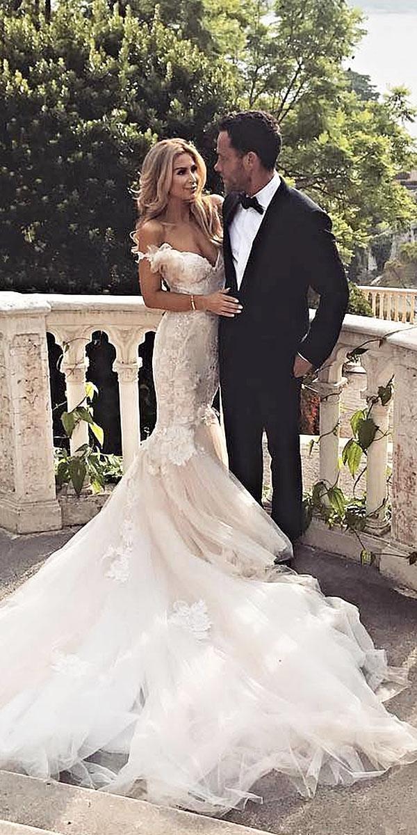 top wedding dresses mermaid off the shoulder v neckline lace galia lahav