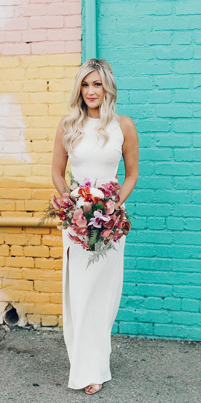 top wedding dresses sheath jewel neckline simple sarah seven