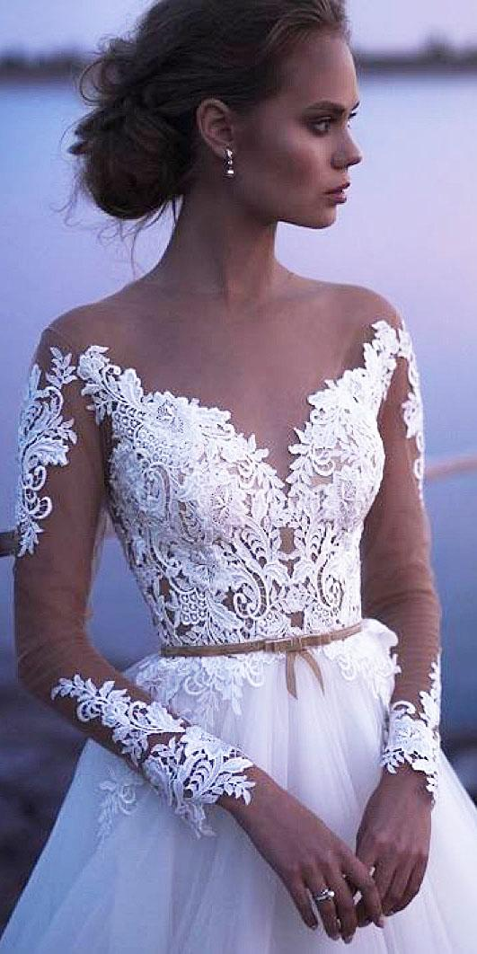 top wedding dresses with long illusion sleeves nude sweetheart lace embellishment versal