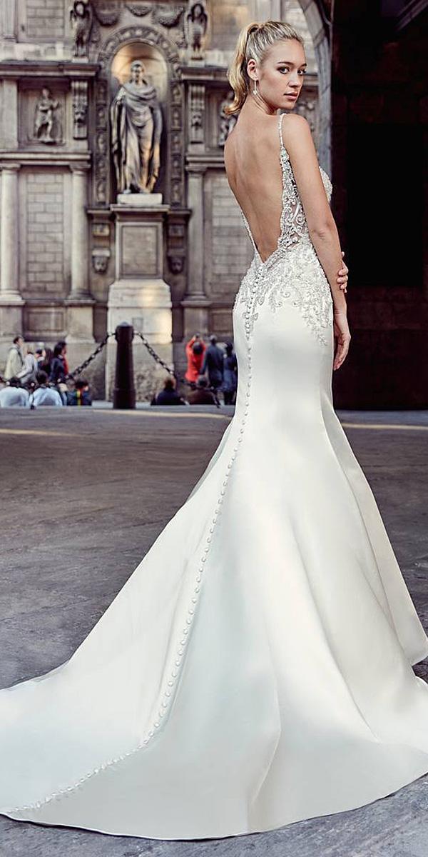 trumpet wedding dresses backless with straps satin lace top eddyk bridal