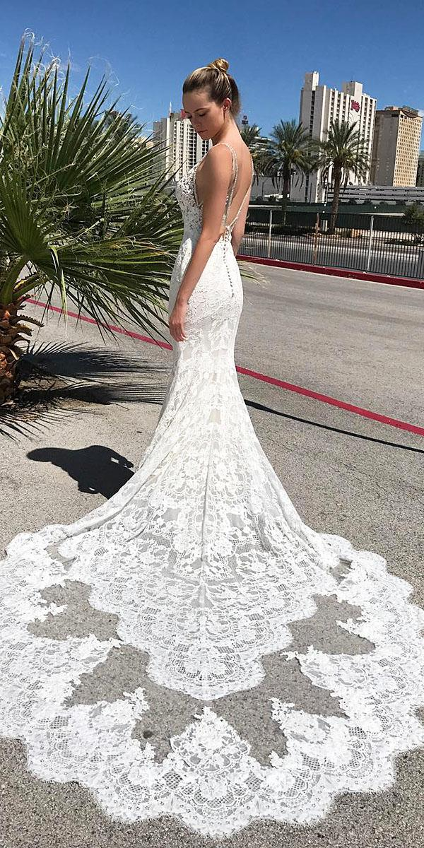 trumpet wedding dresses full lace floral with train enzoani